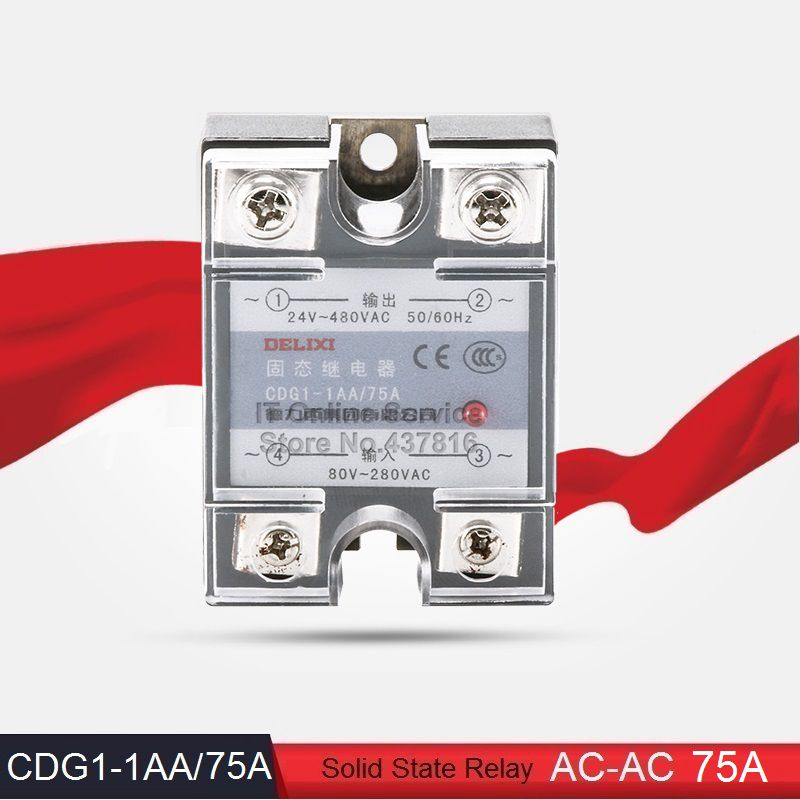 High Quality AC-AC 75A Solid State Relay Single Phase SSR  Input 80-280VAC Output 24-480VAC (CDG1-1AA/75A)<br><br>Aliexpress