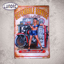 Dependable Service With A Smile Motorcycle Biker Pin Up Route 66 USA Garage Hot Rod Wall Stickers Decor(China)