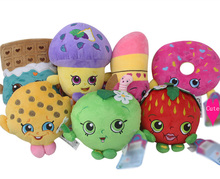 Cute Kawaii Fruit Plush Miniature Play house Toy Apple Cookie Strawberry Donut Candy Soft Plush Brinquedo Lipstick Chocolate Toy(China)