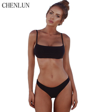 Chen Lun new sexy 2018 summer bikini suit Brazil with chest pad swimwear women's beachwear solid color popular swimsuit(China)
