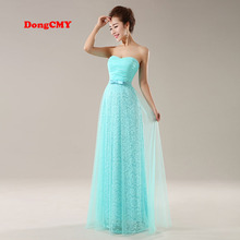 new 2017 long design fashion Top sky blue girl's vestidos longo prom dresses party elegant evening dress