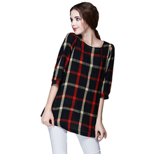 Spring Women Plaid Blouse Vintage XXXXXL O Neck 3/4 Sleeve Line Casual Ladies Shirt Tops Blusas Femininas Red XXXXL Plus Siize