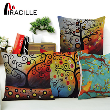 "Miracille Square 18"" Decorative Sofa Throw Pillows Colorful Life Tree Patterns Car Seat Sofa Waist Cushions Pilow No Filling(China)"