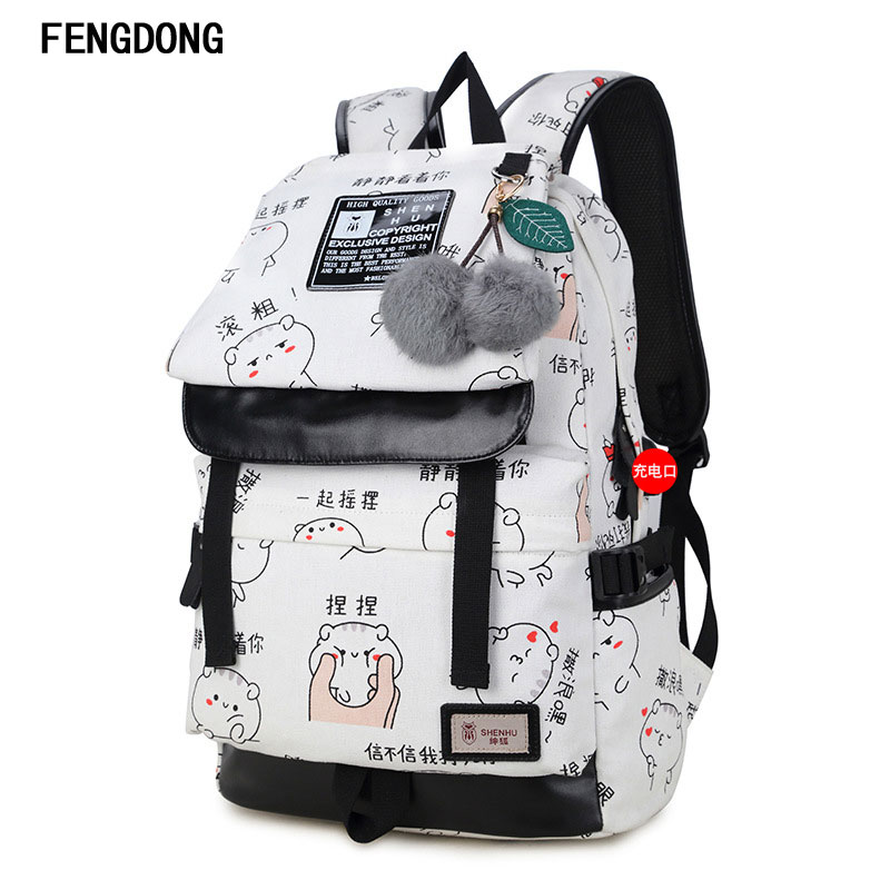 Fengdong Cute Lightweight Canvas Bookbags Water Resistant School Backpacks Most Durable School Bag for Teenage Girls and kids<br>