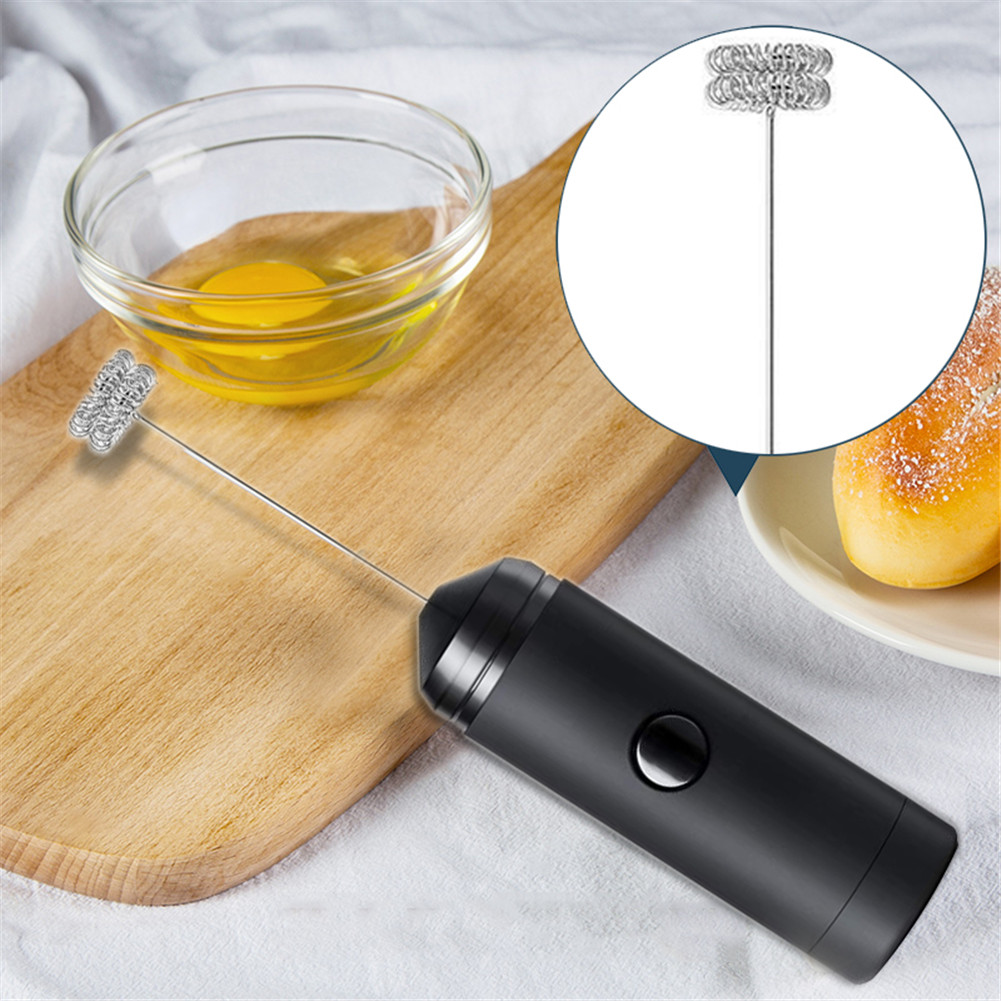 Powerful Double Spring Whisk Electric Milk Frother Kitchen Mixer Hand Milk Foamer for Coffee Latte Cappuccino 4