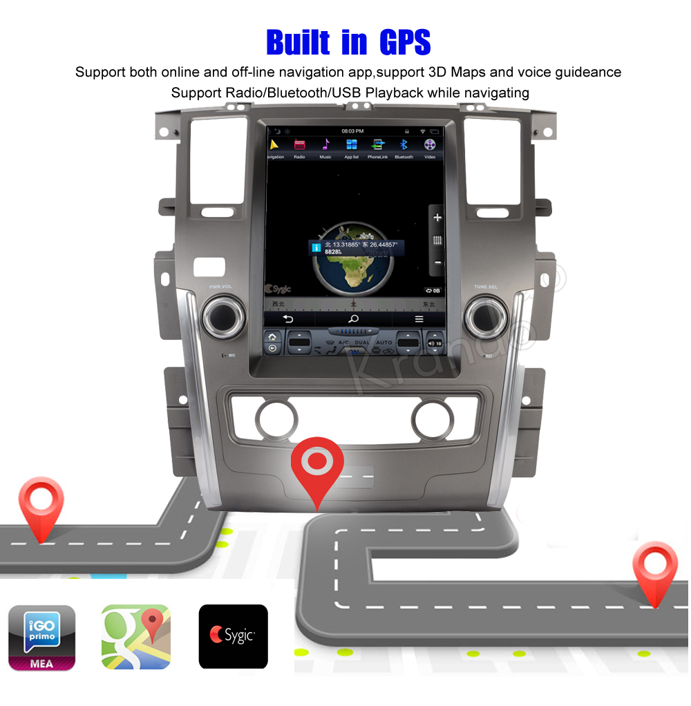 Krando Vertical screen android car radio multimedia for Nissan patrol low version big screen navigation with gps system (8)