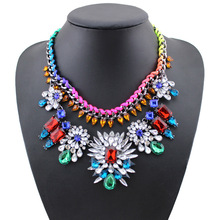 2015 new  European style European  jewelry wholesale color stone flower necklace 6 pcs/lot