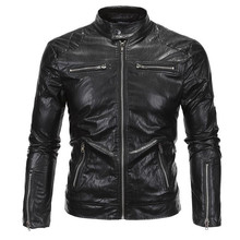 2017 New Arrivals David Beckham Same Stye Real Leather Jacket Big Size 5XL Men Vintage Fashion Motorcycle Jacket A3079(China)