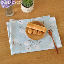 DUNXDECO 1PC 50x70cm Country Style Smal Flowers Linen  Cotton Table Placemat Home Table Mats Napkin Store Decoration Photo Prop