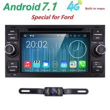 Car Headunti For Ford Android 7.1 4G Car DVD Player For Ford Galaxy Fusion C-MAX S-MAX Focus GPS Navigation Radio Stereo System