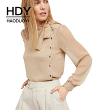 HDY Haoduoyi Apparel Solid Color Semi-Sheer Sexy Women Shirts Lace-up Belt Single Breasted Lady Tops Preppy Style Casual Blouses(China)