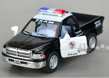 Gift for boy 1:36 12.5cm cool Dodge pickup police man car truck patrol wagon alloy model pull back creative birthday toy