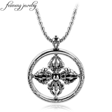 feimeng jewelry Viking Series Crown Cross Necklace Retro Silver Pendant Roman Numeral Chain Necklaces & Pendant(China)