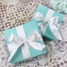 10pcs Wedding Candy Box Jewelry Gift Case Pouch Favor Sweets Chocolates Box Turquoise Square Box with Silk Ribbon