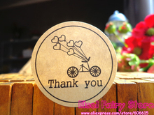 600pcs Round Kraft Seal Sticker  Bicycle Holiday Design Thank You Gift Point Sticker For Party Favor Gift Bag Candy Box Decor