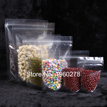 Various Sizes 100pcs Recyclable HDPE Transparent Mylar Stand Up Package Bag Pouches Clear Plastic Storage Bag With Zip Lock