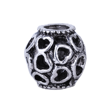 1Pc New Silver Jewelry Love Heart Hollow Ball Silver Bead Charm European Bead Fit Pandora BIAGI Bracelet Bangle(China)