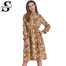 SunnyYeah Floral Vintage Autumn Winter Dress Women Casual 2018 Corduroy Long Sleeve Midi Ladies Dress Female Vestidos Mujer Robe(China)