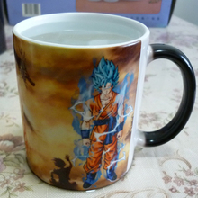 Drop shipping Dragon Ball Z Super Saiyan black red blue hair Goku Vegata Mug Color Changing Mugs coffee tea cup(China)