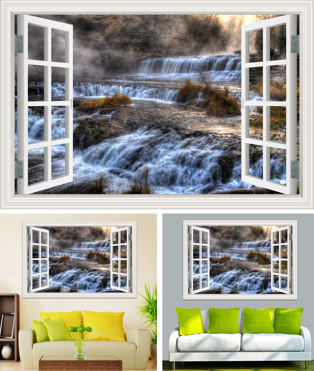 HTB15iP3cMjN8KJjSZFCq6z3GpXae - Waterfall 3D Window View Wallpaper Nature Landscape Wall Decals for Living Room