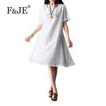 F&JE 2017 Summer New Arts Style Women Short sleeve Loose Casual Long Dress Top quality cotton linen Vintage Embroidery Dress 881
