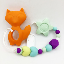 Silicone fox Caroon Pacifier BPA Free Baby Teether Necklace Pendant Hand made Funny Colorful Bead Clip Holder Pacifier Pendant(China)