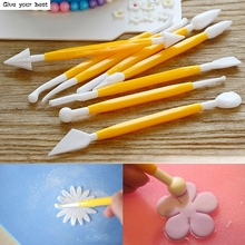 8Pcs Sugarcraft Fondant Cake Pastry Carving Cutter Chocolate Decorating Flower Clay Modelling Plastic Baking Craft Tool Set