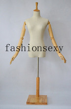 Female torso mannequin plastic,vintage female mannequin,clothes display stand with base wooden and plastic hands,M00373(China)
