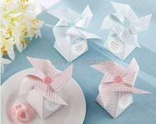 "Free Shipping Wholesale 20 sets Pink or Blue Color Baby Shower Box ""Whimsical Moments"" Pinwheel Favor Box Wedding Gift Candy Box"