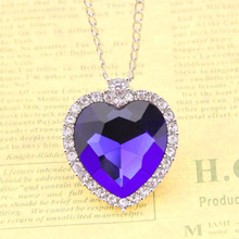 Titanic Necklace Heart of Ocean Crystal Pendant Necklaces European Movie Necklace