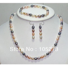 Wholesale Pearl Jewellery Set Multi-Color Natural Freshwater Pearl Necklace Bracelet Earrings 6-7mm Rice Shaper Free Shipping