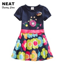 4-8Y NEAT Nova 2017 New  Dress Flower Baby Girl Print Lace Party Princess Dresses Vestidos Child Clothes Kids Wear SH5868 MIX