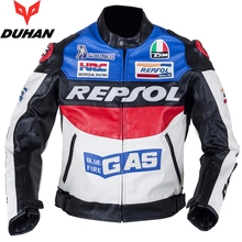 Free shipping 1pcs Mens Motorbike Leather Motorcycle Biker Armour Waterproof Motocross Leather Motorcycle Jacket With 5pcs pads(China)