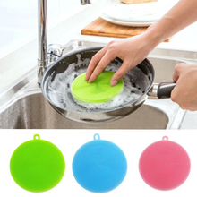 Round Shape Dish Washing Brush Washing Fruit Vegetable Multi-purpose Food Grade Silicone Cleaning Dishwashing Brush V4178