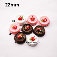 Resin strawberry fake cake DIY Miniature Artificial Fake Food Cake Resin Cabochon 22mm 60PCS YZR494(China)