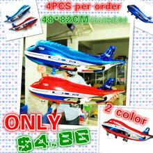 High quality 4pcs/lot 48*82cm airliner balloon plane shape foil balao for party decoration kids birthday party supplies PL008