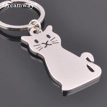 Metal cat keychains key rings fashion animal key chains personalized car key holder pendant women bag charms key rings accessory(China)