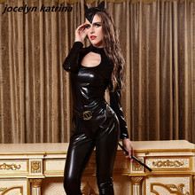 jocelyn katrina brand Women Latex Catsuit Erotic Costumes Tights Cat Suit Sexy Bodysuit Fantasias Catwoman Headdress Cosplay
