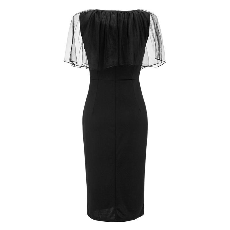Adogirl Black Mesh Cape Bodycon Party Dresses Elegant Ladies Pencil Office Dress High Quality Cheap Work Wear Vestido De Festa 10