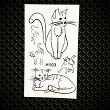 Cute Black Cat Temporary Tattoo For Kids Toys Women Makeup Cartoon Tattoo Sticker GH103 Fake Flash Tattoos Stickers Painting