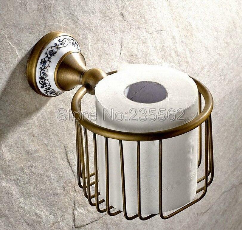 Antique Brushed Brass Porcelain Base Bathroom Accessories Toilet Roll Paper Towel Holders Basket Wall Mounted lba404<br>