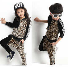 New Korean Kids 2 Pieces Clothing Set Autumn Children Leopard Sport Suits Girls Boys Casual Jacket+ Leopard Harem Pants