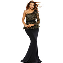 2016 Autumn New Fashion Women Evening Party Mermaid Dresses one shoulder gold floral lace peplum top floor length formal dress
