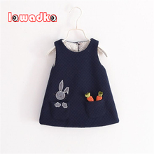 Lawadka Baby Girls Dress with Pocket Autumn Girls Clothes Sleeveless Rabbit eat Carrot Pattern Baby Accessories Children Clothes(China)