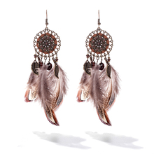 Top quality Sunflower feather Women Earring Brand New Bohemia Vintage Drop Long Feather Water Drop Eearrings for Women Handmade(China)
