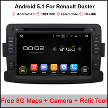 1024*600 7'' Quad Core Android 5.1 Car DVD for Renault Duster With Bluetooth 16GB Nand Flash Wifi Mirror Link Maps GPS camera