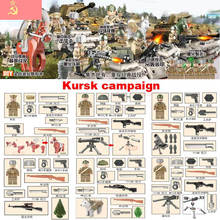 Oenux Newest WW2 The Battle Of Kursk Military Building Block Kursk Campaign Soviet Army Figures With Weapons Model DIY Brick Toy(China)