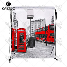 London City Retro Red bus and Telephone Boxes Print Custom individual Nylon Fabric Drawstring Shoes Storage Dust Bag Pack of 4