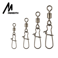 Meredith 200pcs/lot Fishing Swivel Stainless Steel Rolling Swivel With Snap Fishhook Lure Connector Fish Hook