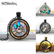 HZShinling Glass Photo Cabochon Necklace Steampunk Clock Necklace Glass Dome Pendant Handcrafted Jewelry Butterfly Pattern HZ1(China)